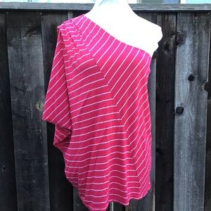 Michael Stars Pink & White Stripe One Shoulder Top